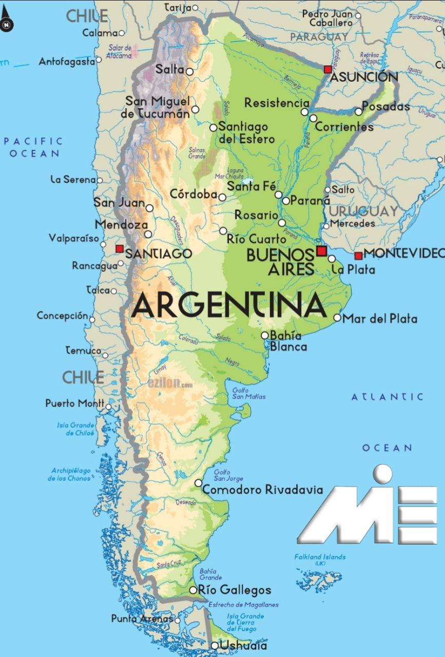 نقشه آرژانتین ـ آرژانتین بر روی نقشه ـ آرژانتین کجاست؟ ـ ویزای آرژانتین