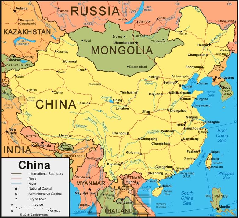 نقشه چین ـ چین کجاست؟ ـ چین بر روی نقشه ـ همسایگان چین