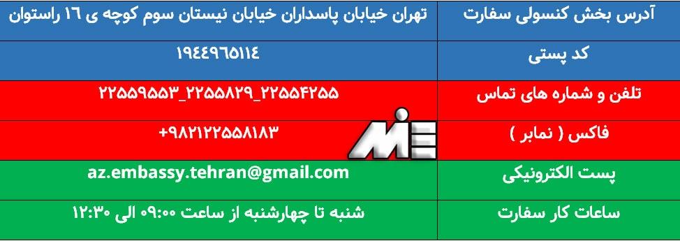 آدرس سفارت آذربایجان راههای ارتباطی با آن