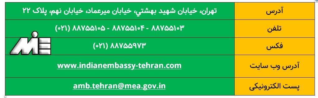 آدرس و اطلاعات ارتباطی سفارت هند در تهران
