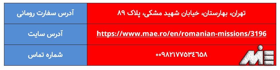 آدرس و اطلاعات تماس با سفارت رومانی