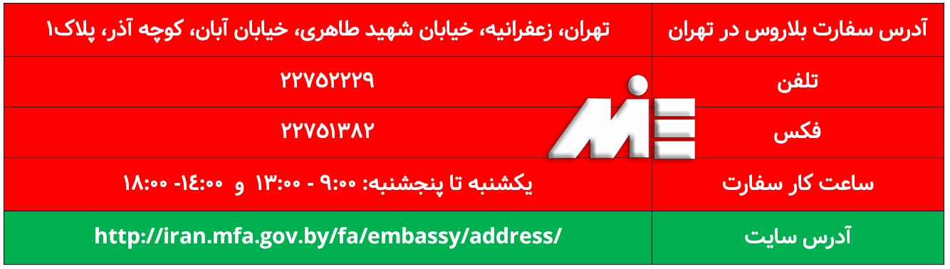 آدرس و تلفن تماس و وبسایت سفارت بلاروس