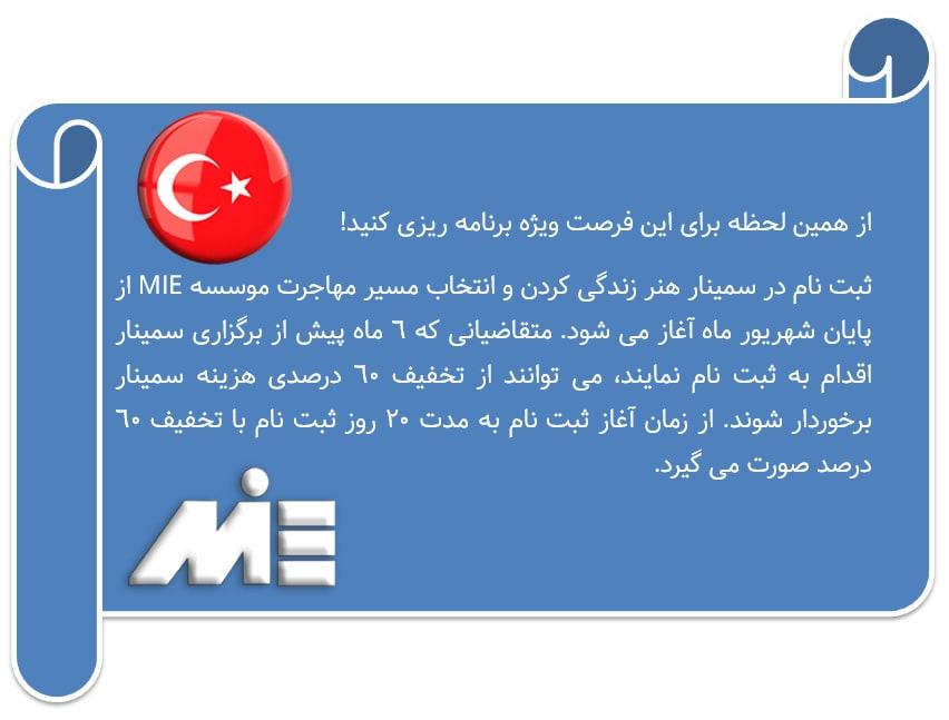 شرح تخفیفات جدید سمینار ترکیه