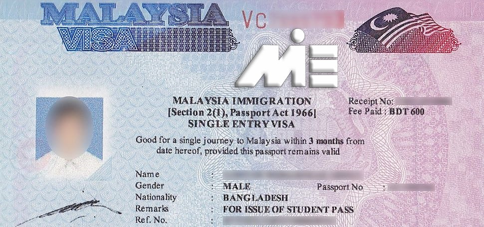 نمونه استیکر ویزای توریستی مالزی