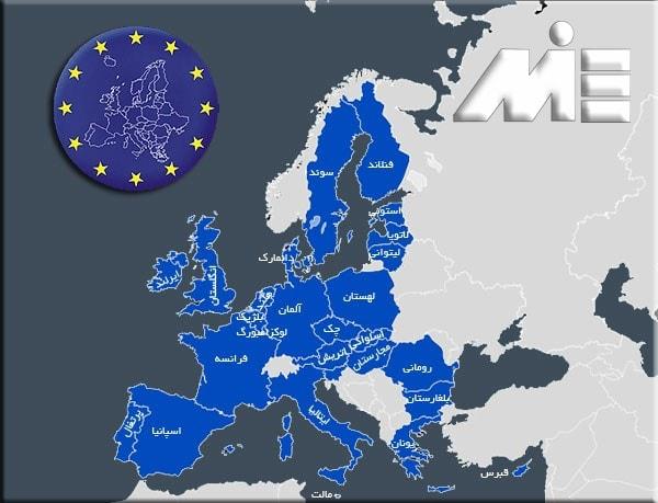 نقشه کشور های عضو شنگن