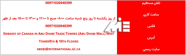 آدرس و راههای ارتباطی سفارت کانادا در امارات متحده