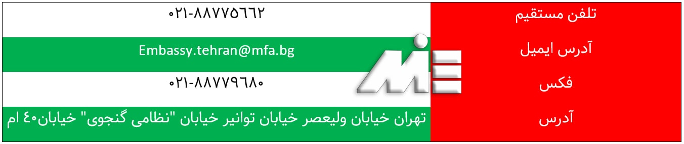 آدرس و نشانی سفارت بلغارستان در تهران | اطلاعات تماس ، ایمیل، فاکس و تلفن سفارت بلغارستان