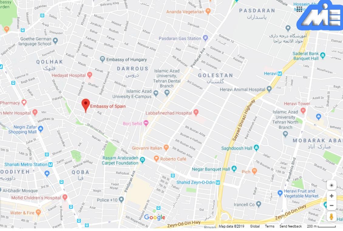 آدرس سفارت اسپانیا بر روی نقشه گوگل مپ