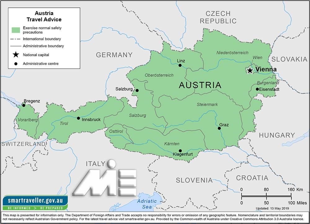 نقشه اتریش - اتریش بر روی نقشه - جغرافیای اتریش