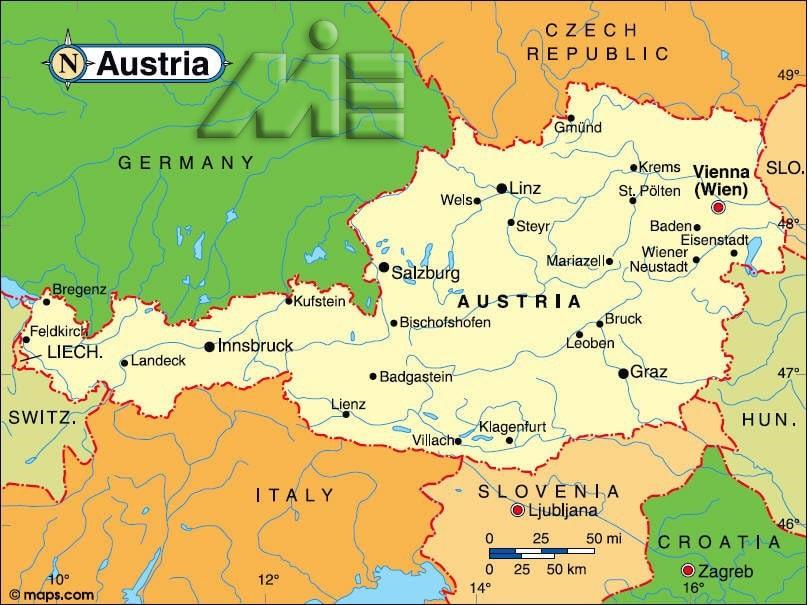 اتریش بر روی نقشه - موقعیت جغرافیایی اتریش - اتریش کجاست؟