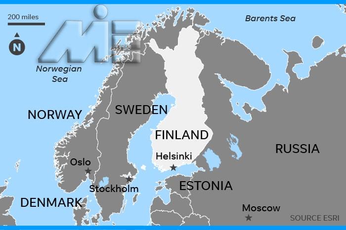 فنلاند بر روی نقشه - فنلاند کجاست؟