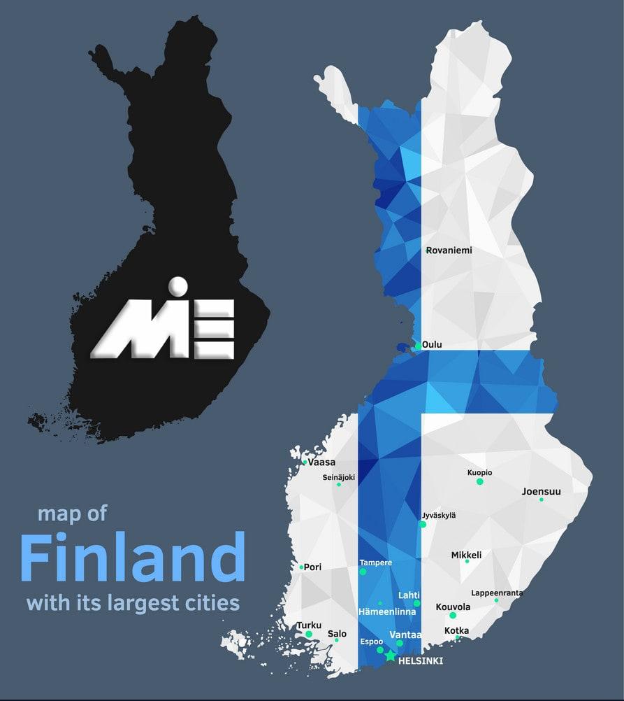 نقشه فنلاند با موقعیت بزرگترین شهر های آن - شهرهای فنلاند