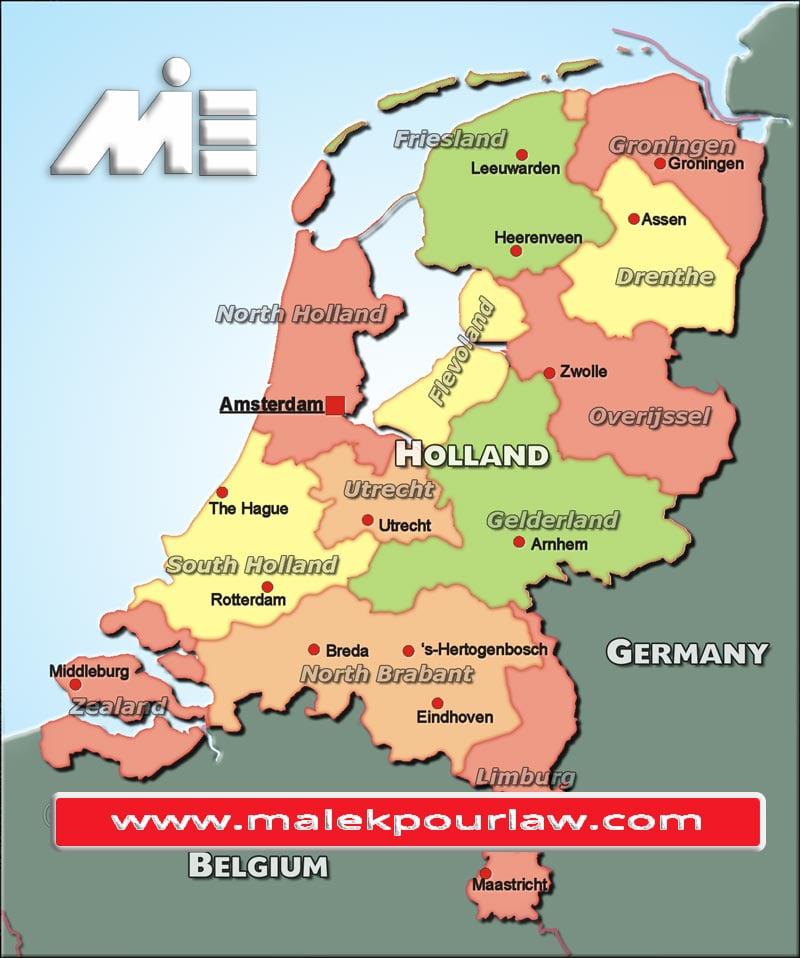 نقشه هلند - مهاجرت به هلند - سفر به هلند - ویزای هلند - پاسپورت هلند