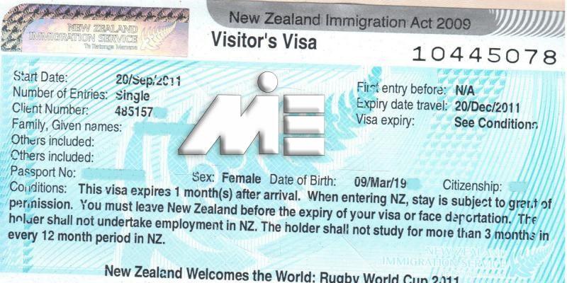 نمونه استیکر ویزای توریستی نیوزلند