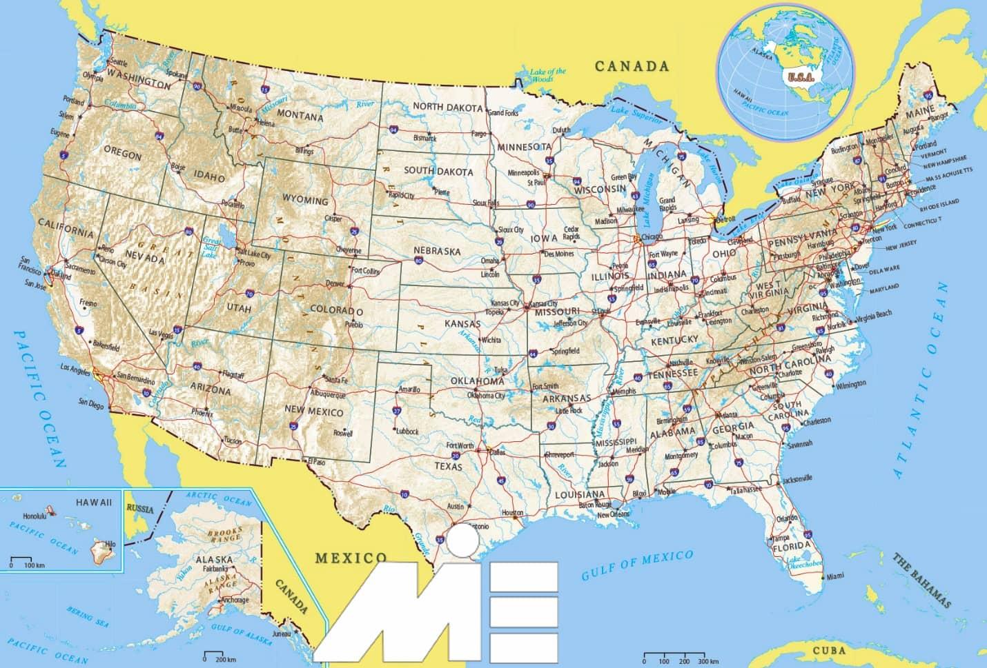 نقشه ایالات متحده آمریکا - جغرافیای آمریکا - شهرهای آمریکا - آمریکا کجاست؟