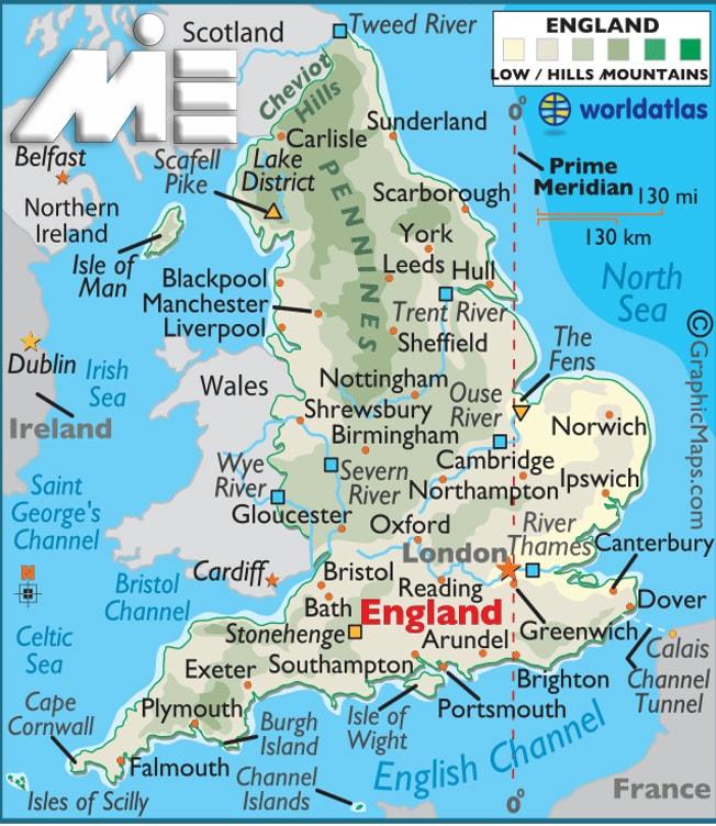 تحصیل مهندسی در انگلستان و شرایط عمومی آن-map