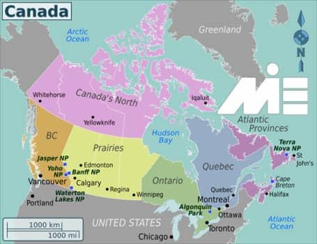 شرایط ویزای تحصیلی کانادا وشرایط عمومی - نقشه