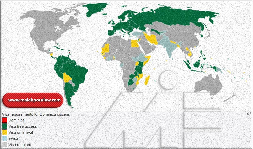 نقشه آزادی سفر برای دارندگان پاسپورت دومنیکا