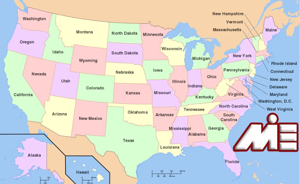 نقشه آمریکا - مهاجرت به آمریکا - اقامت آمریکا - ویزای آمریکا - گرین کارت آمریکا - لاتاری آمریکا
