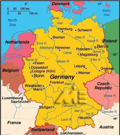 نقشه آلمان - مهاجرت به آلمان - آلمان کجاست؟