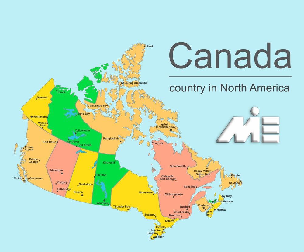 نقشه کانادا - مهاجرت به کانادا - کانادا کجاست؟