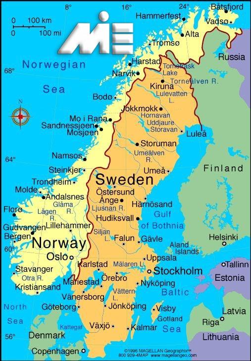 نقشه نروژ - نروژ کجاست؟ - مهاجرت به نروژ - اقامت نروژ