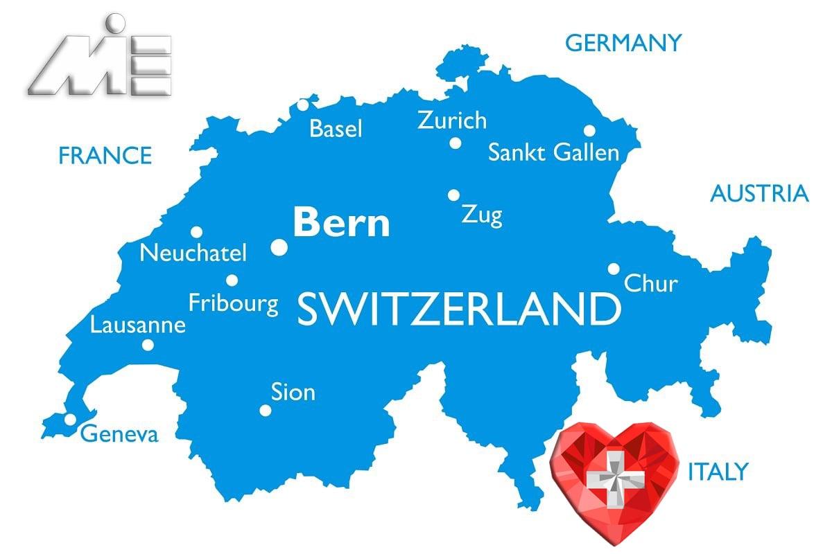 نقشه سوئیس - کشور سوئیس کجاست؟ - شهرهای سوئیس- مهاجرت به سوئیس - اقامت سوئیس