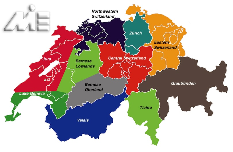 نقشه سوئیس - کامنتون های سوئیس - مهاجرت به سوئیس