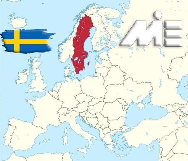 سوئد بر روی نقشه - کشور سوئد کجاست؟ - اسکاندیناوی کجاست؟ - پرچم سوئد - مهاجرت به سوئد
