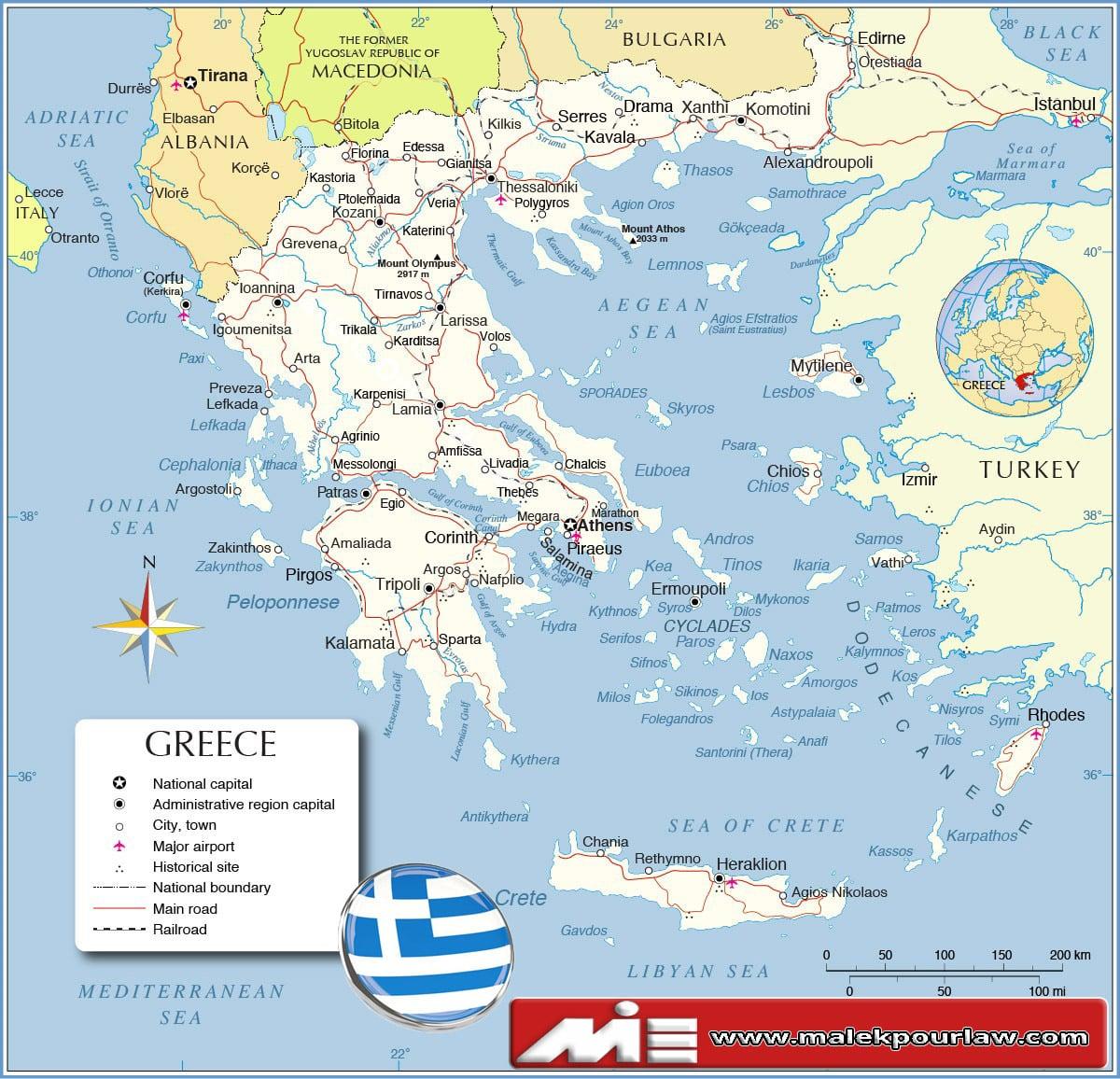 نقشه یونان - یونان کجاست؟ - مهاجرت به یونان - اقامت یونان - سفر توریستی به یونان