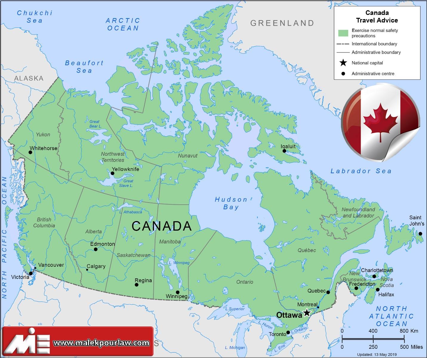 نقشه کانادا - مهاجرت به کانادا - اقامت کانادا - کانادا کجاست؟